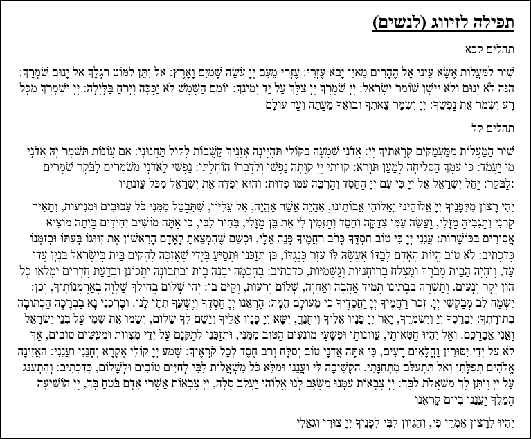 Tefilah for a Girl Searching for a Mate